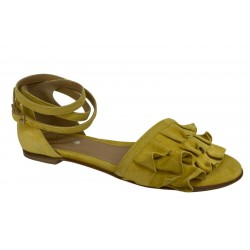 WO MILANO sandal woman low yellow suede art 990 SUEDE 100% leather MADE IN ITALY