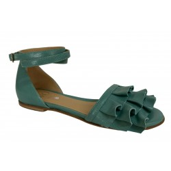WO MILANO low sandal woman sage green art 990 LEATHER 100% leather MADE IN ITALY