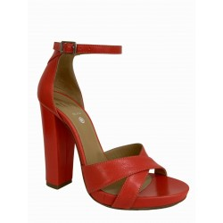 WO MILANO sandal woman coral leather heel 12 art 555 MADE IN ITALY