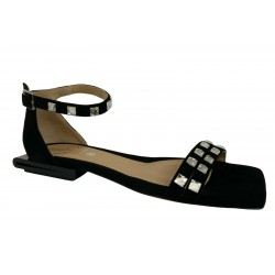 WO MILANO sandal woman low black black art 305 100% leather MADE IN ITALY