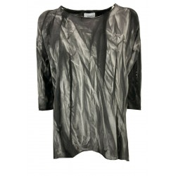 SOHO-T maxi woman t-shirt gray tye and dye art 21SM52 CALI MADE IN ITALY
