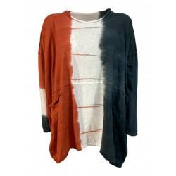 TADASHI maxi woman t-shirt gray / white / orange art TPE214134T JAPAN SWEATER 100% cotton MADE IN ITALY