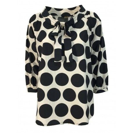 MYLAB blouse woman 3/4 sleeve ecru large black polka dots art Q02C193 / 1161 100% cotton MADE IN ITALY