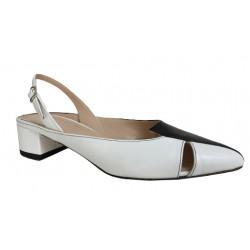 CRISTINA MILLOTTI scarpa donna aperta dietro bianco/nero art 7101 MADE IN ITALY