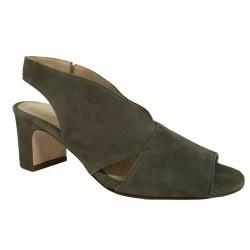CRISTINA MILLOTTI sandalo donna camoscio kaki art 115 100% pelle MADE IN ITALY