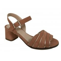 CRISTINA MILLOTTI sandalo donna camoscio pesco art 290 100% pelle MADE IN ITALY