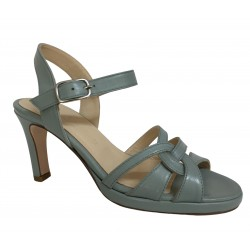 CRISTINA MILLOTTI sandal woman gray / green leather art 289 100% leather MADE IN ITALY