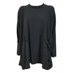 TADASHI maxi asymmetrical anthracite over art t-shirt TPE214089 MADE IN ITALY