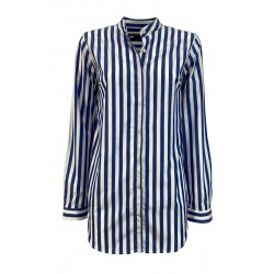 BROUBACK white / blue striped woman shirt JESSY Q72 100% cotton MADE IN ITALY