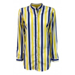 BROUBACK white / blue / yellow striped woman shirt JESSY Q70 100% cotton MADE IN ITALY
