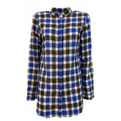 BROUBACK brown / blue / white checkered woman shirt JESSY Q18 MADE IN ITALY