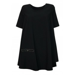 TADASHI asymmetrical over blouse woman jersey + black linen long sleeve art TPE212098 MADE IN ITALY