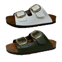 BIO BIO FOOTWEAR sandal woman open reptile print leather in the same color BIO-211-76602 DAENA MADE IN SPAIN