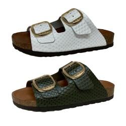 BIO BIO FOOTWEAR sandalo donna aperto pelle stampa rettile in tinta BIO-211-76602 DAENA MADE IN SPAIN