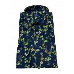 BRANCACCIO blue / green floral patterned man shirt SA00B9 SLIM ALBERT DBR2503