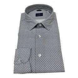 BRANCACCIO white / blue fish patterned man shirt art SA00B1 SLIM ALBERT DBR0711