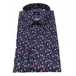BRANCACCIO blue / red floral patterned man shirt art SA00B9 SLIM ALBERT DBR0802 100% cotton