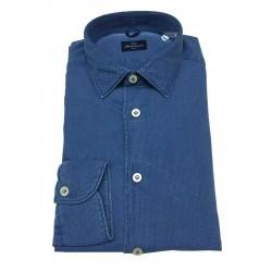 BRANCACCIO man shirt long sleeve slim textured fabric denim color art SA00B2 ALBERT DBB0211