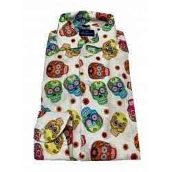 BRANCACCIO man shirt ecru multicolor skull pattern SBB0K1 SLIM BOOWLING DBN1502