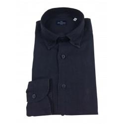 BRANCACCIO blue man shirt GN00K1 GOLD NICOLA DBR5331 100% linen