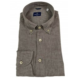 BRANCACCIO man shirt button-down dove gray melange GN00K1 GOLD NICOLA DBR5314