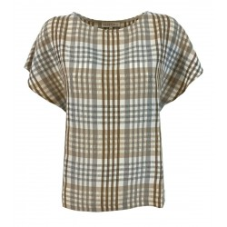 HUMILITY 1949 beige / gray checkered blouse woman art HA-TO-HELIA MADE IN ITALY