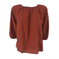 HUMILITY 1949 brick color woman blouse art HA-TO-CECILIE 100% cotton MADE IN ITALY