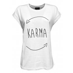 PRET A PORTER VENEZIA white crew-neck t-shirt with black print art KARMA 100% cotton MADE IN ITALY