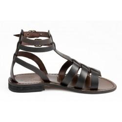 ANTICHI ROMANI sandali donna flats marrone 517 100% pelle vacchetta MADE IN ITALY