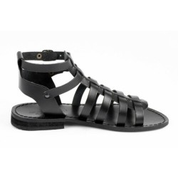 ANTICHI ROMANI women's sandals flats black art 803 100% cowhide leather MADE IN ITALY
