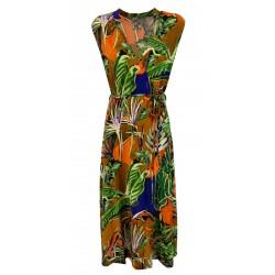 ALDO MARTINS abito donna jersey fantasia multicolor taglio in vita art 5610 CISUS MADE IN SPAIN