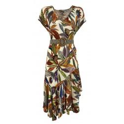ALDO MARTINS abito donna con cinta elastica jersey fantasia 5625 NOPAL MADE IN SPAIN