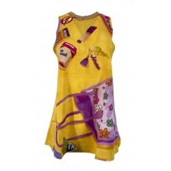 ALDO MARTINS blouse woman long yellow fantasy art 5601 ALOE 100% viscose MADE IN SPAIN