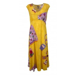 ALDO MARTINS flared fantasy yellow woman dress 5602 ANIS MADE IN SPAIN