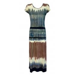ALDO MARTINS blue / bordeaux fantasy woman dress art 5628 ROSA MADE IN SPAIN