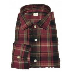GMF 965 man shirt embossed bordeaux / black squares mod 10.A.L 911 320/01 52% linen 45% cotton 3% elastane