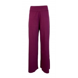 LABO.ART woman jersey plum trousers with elastic waistband IDRO JERSEY MADE IN ITALY