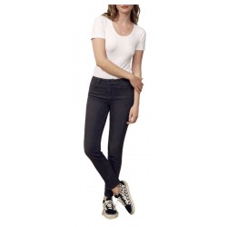 LAB DIP jeans woman dark gray regular waist with zip slim art ELLA
