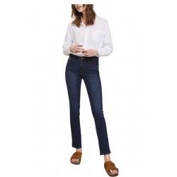 LAB DIP jeans donna denim scuro lavaggio IN60 vita alta con zip straight art JOAN