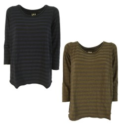 LABO.ART t-shirt woman striped on tone crew neck art UOVO LICO MADE IN ITALY