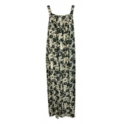LIVIANA CONTI long woman dress with floral pattern écru / black art L1SU48 MADE IN ITALY