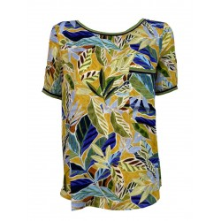 ETICI blouse woman half sleeve fantasy yellow / green / blue art E1 / 3825 MADE IN ITALY