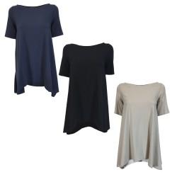 NEIRAMI maxi asymmetric woman t-shirt T355JE-N / S1 MADE IN ITALY