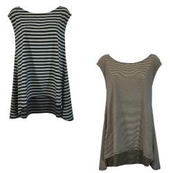 NEIRAMI maxi asymmetrical woman t-shirt art T359ST-N / S1 96% cotton 4% elastane MADE IN ITALY