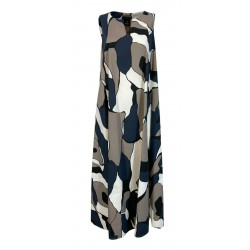 PRET A PORTER VENEZIA long dress over blue / gray / white patterned art PAPRIKA 100% cotton MADE IN ITALY