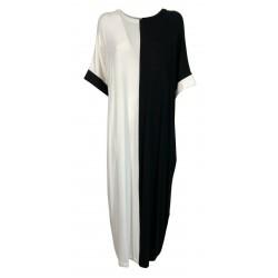 PRET A PORTER VENEZIA long black / white jersey woman dress art DORAIAKI 96% viscose 4% elastane MADE IN ITALY