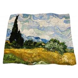 Foulard - VESTILARTE furnishing cloth subject Wheat Field with Cypresses Van Gogh 150x108 MADE IN ITALY