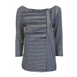 CORTE DEI GONZAGA blue / white striped woman t-shirt art 2101 1R 1300 E1637 95% cotton 5% elastane
