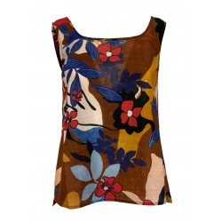 ETiCi top woman dark / blue / red fantasy art C1 / 3758 100% cotton MADE IN ITALY