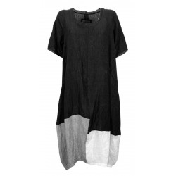 WORKING OVERTIME by TADASHI woman dress over black / gray / white art AB277 100% linen MADE IN ITALY